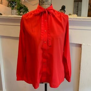 1980's red pussycat blouse